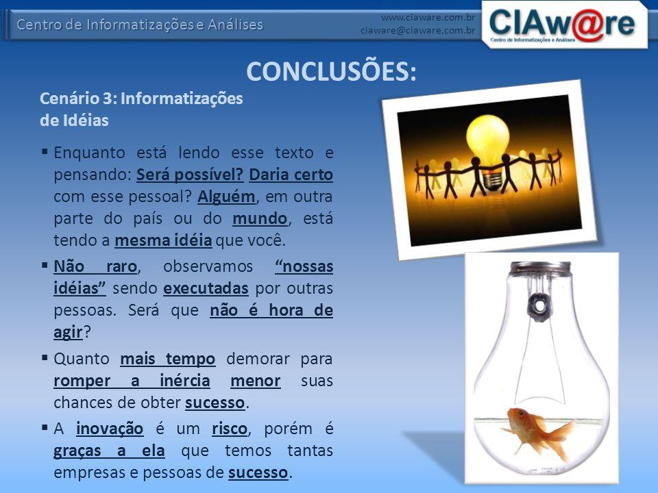 Centro de Informatizações e Análises www.ciaware.com.br ciaware@ciaware.com.br Cenário 3: Informatizações de Idéias Enquanto está lendo esse texto e p