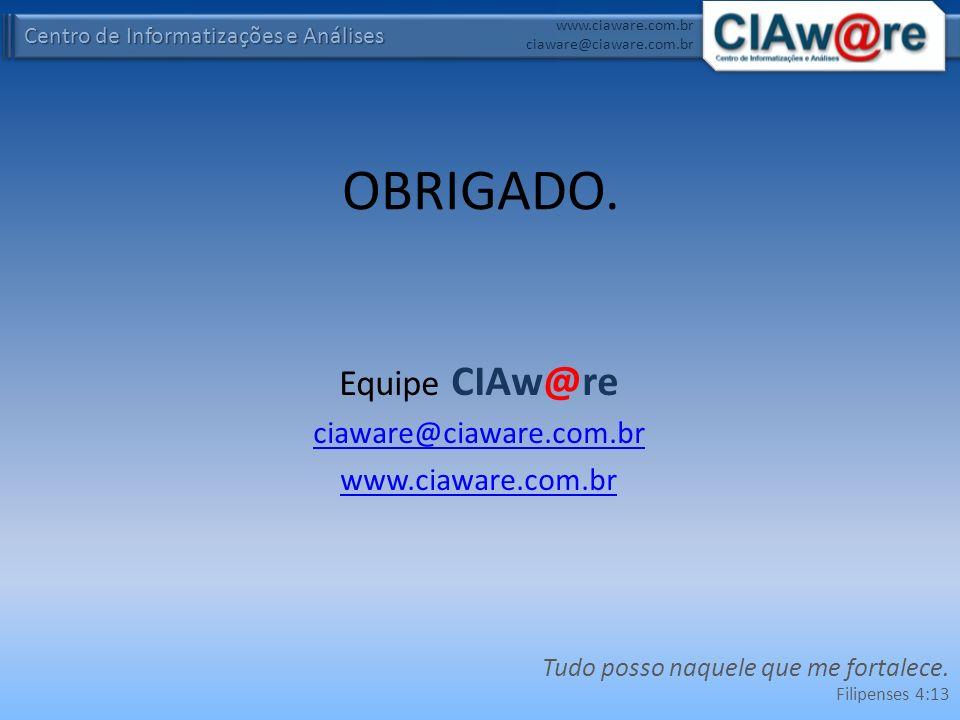 Centro de Informatizações e Análises www.ciaware.com.br ciaware@ciaware.com.br OBRIGADO. Equipe CIAw@re ciaware@ciaware.com.br www.ciaware.com.br Tudo