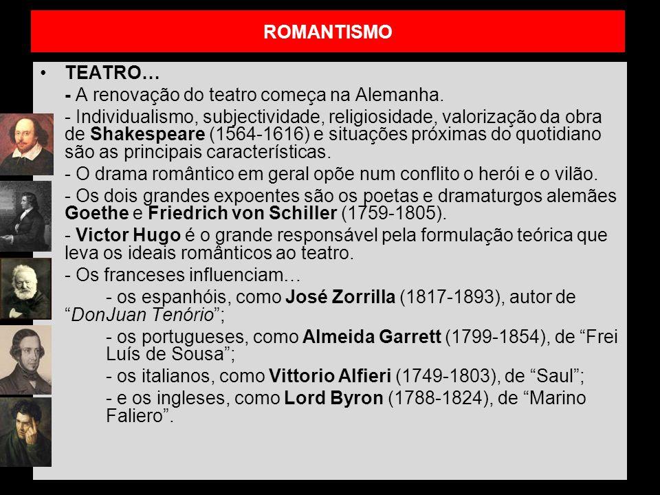 ROMANTISMO TEATRO… - A renovação do teatro começa na Alemanha. - Individualismo, subjectividade, religiosidade, valorização da obra de Shakespeare (15