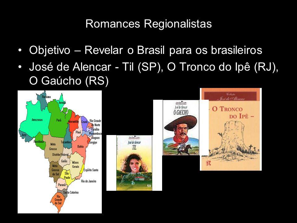 Romances Regionalistas Objetivo – Revelar o Brasil para os brasileiros José de Alencar - Til (SP), O Tronco do Ipê (RJ), O Gaúcho (RS)