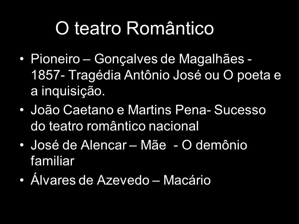 O teatro Romântico Pioneiro – Gonçalves de Magalhães - 1857- Tragédia Antônio José ou O poeta e a inquisição. João Caetano e Martins Pena- Sucesso do