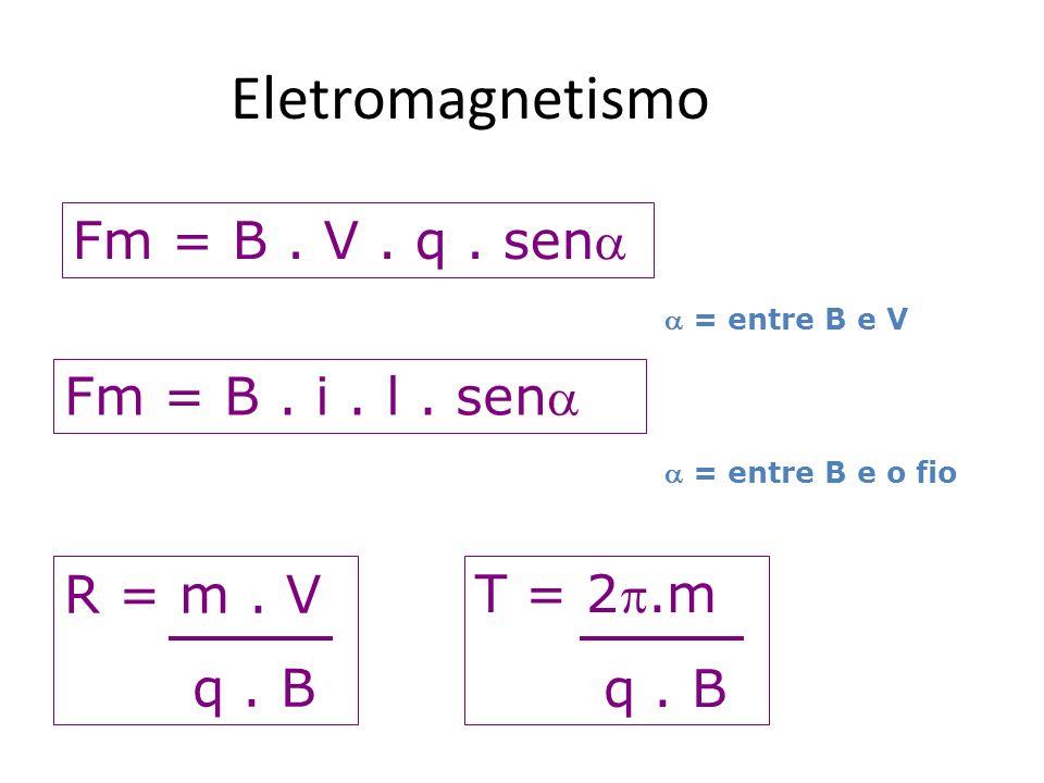 Eletromagnetismo Fm = B. V. q. sen = entre B e V Fm = B. i. l. sen = entre B e o fio R = m. V q. B T = 2.m q. B