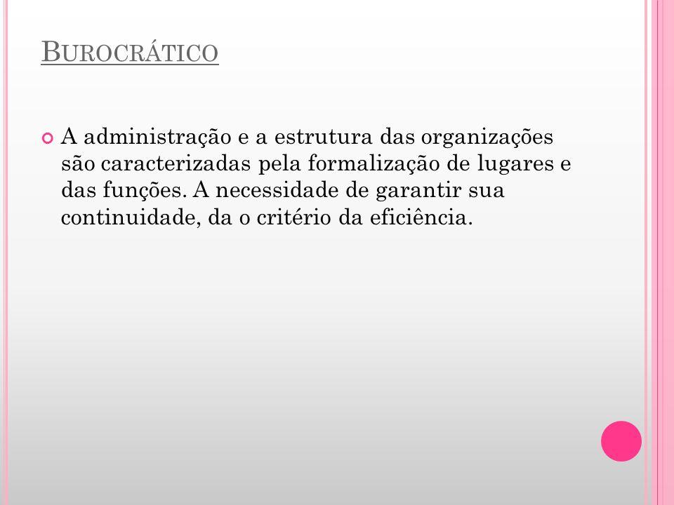 B UROCRÁTICO A administração e a estrutura das organizações são caracterizadas pela formalização de lugares e das funções. A necessidade de garantir s