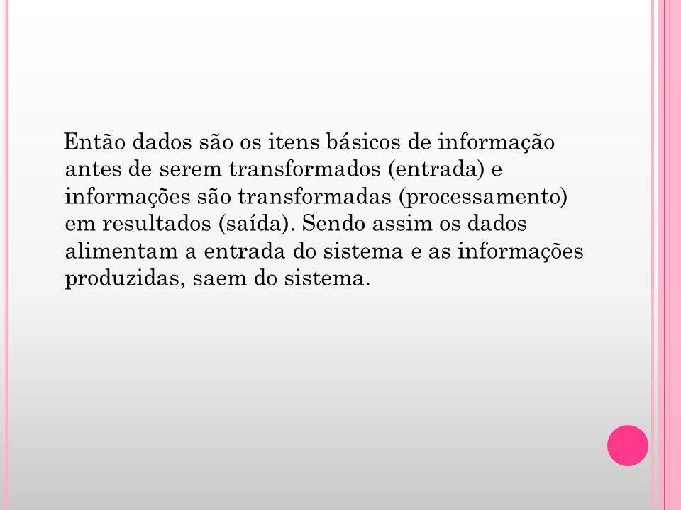 Então dados são os itens básicos de informação antes de serem transformados (entrada) e informações são transformadas (processamento) em resultados (s