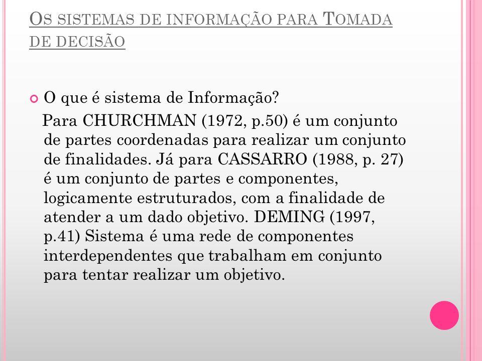 O S SISTEMAS DE INFORMAÇÃO PARA T OMADA DE DECISÃO O que é sistema de Informação? Para CHURCHMAN (1972, p.50) é um conjunto de partes coordenadas para