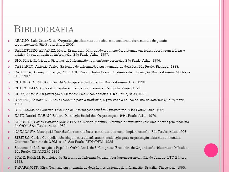 B IBLIOGRAFIA ARAUJO, Luis Cesar G. de. Organização, sistemas em todos: e as modernas ferramentas de gestão organizacional. São Paulo: Atlas, 2001. BA