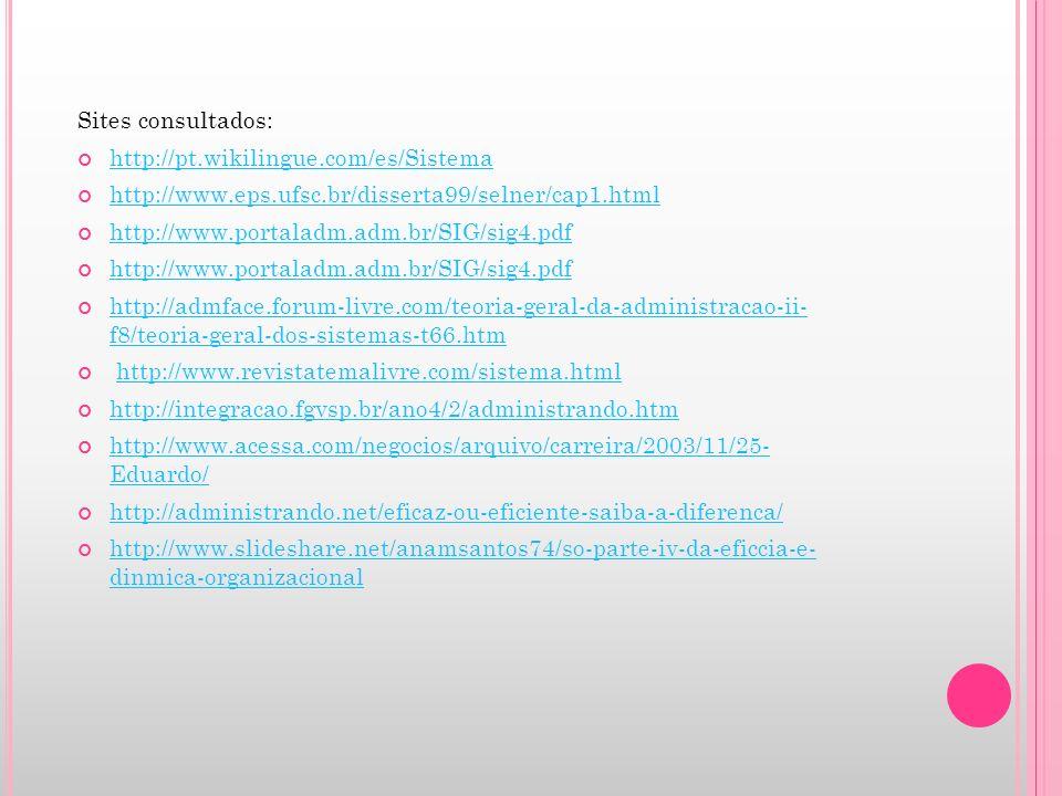 Sites consultados: http://pt.wikilingue.com/es/Sistema http://www.eps.ufsc.br/disserta99/selner/cap1.html http://www.portaladm.adm.br/SIG/sig4.pdf htt