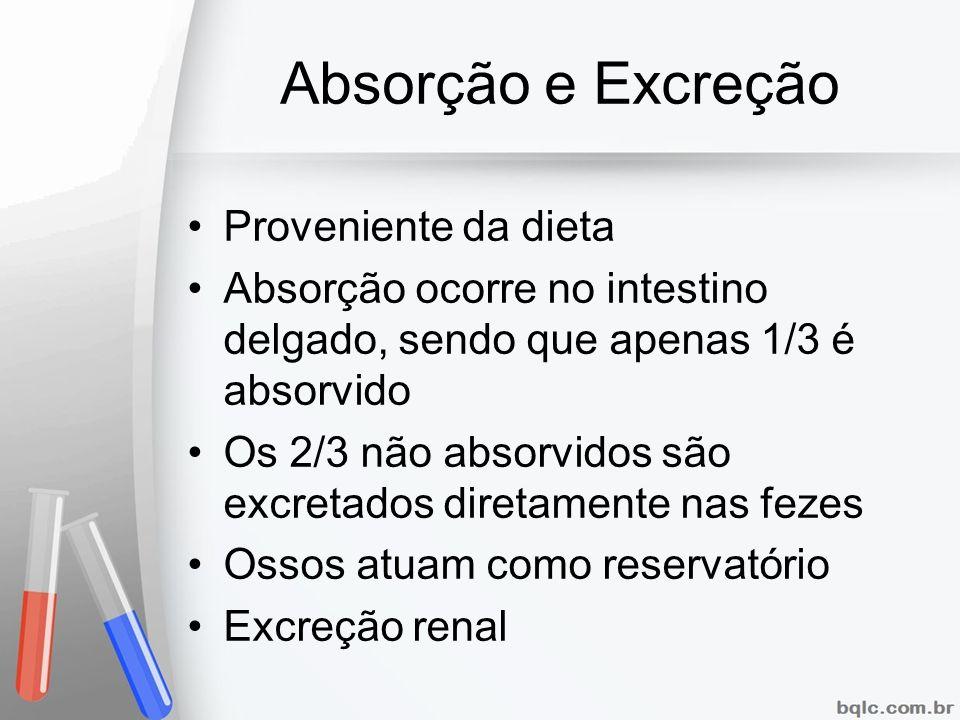 Absorção e Excreção Proveniente da dieta Absorção ocorre no intestino delgado, sendo que apenas 1/3 é absorvido Os 2/3 não absorvidos são excretados d