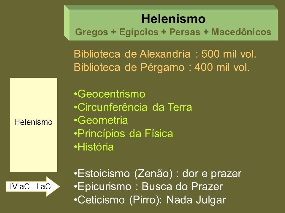 Helenismo IV aC I aC Helenismo Gregos + Egípcios + Persas + Macedônicos Biblioteca de Alexandria : 500 mil vol. Biblioteca de Pérgamo : 400 mil vol. G
