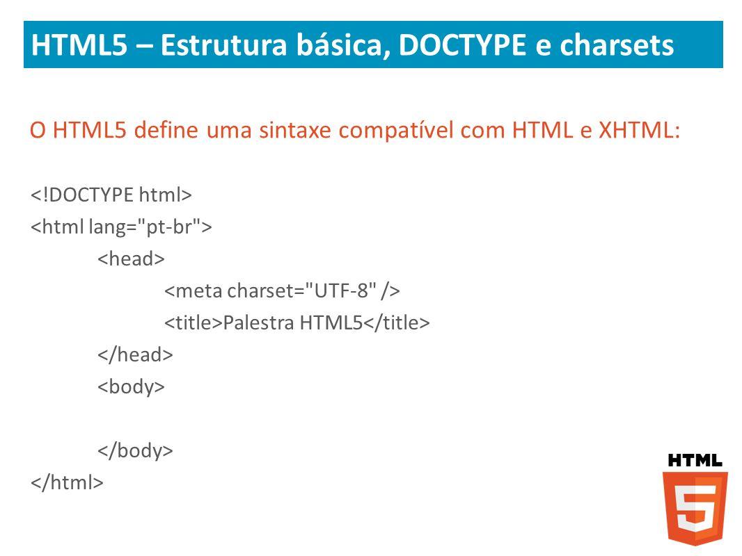 HTML5 – Estrutura básica, DOCTYPE e charsets O HTML5 define uma sintaxe compatível com HTML e XHTML: Palestra HTML5