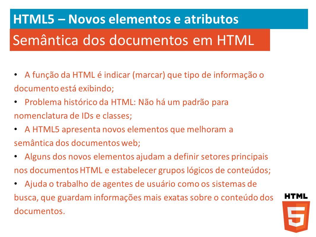 HTML5 – Novos elementos e atributos A função da HTML é indicar (marcar) que tipo de informação o documento está exibindo; Problema histórico da HTML: