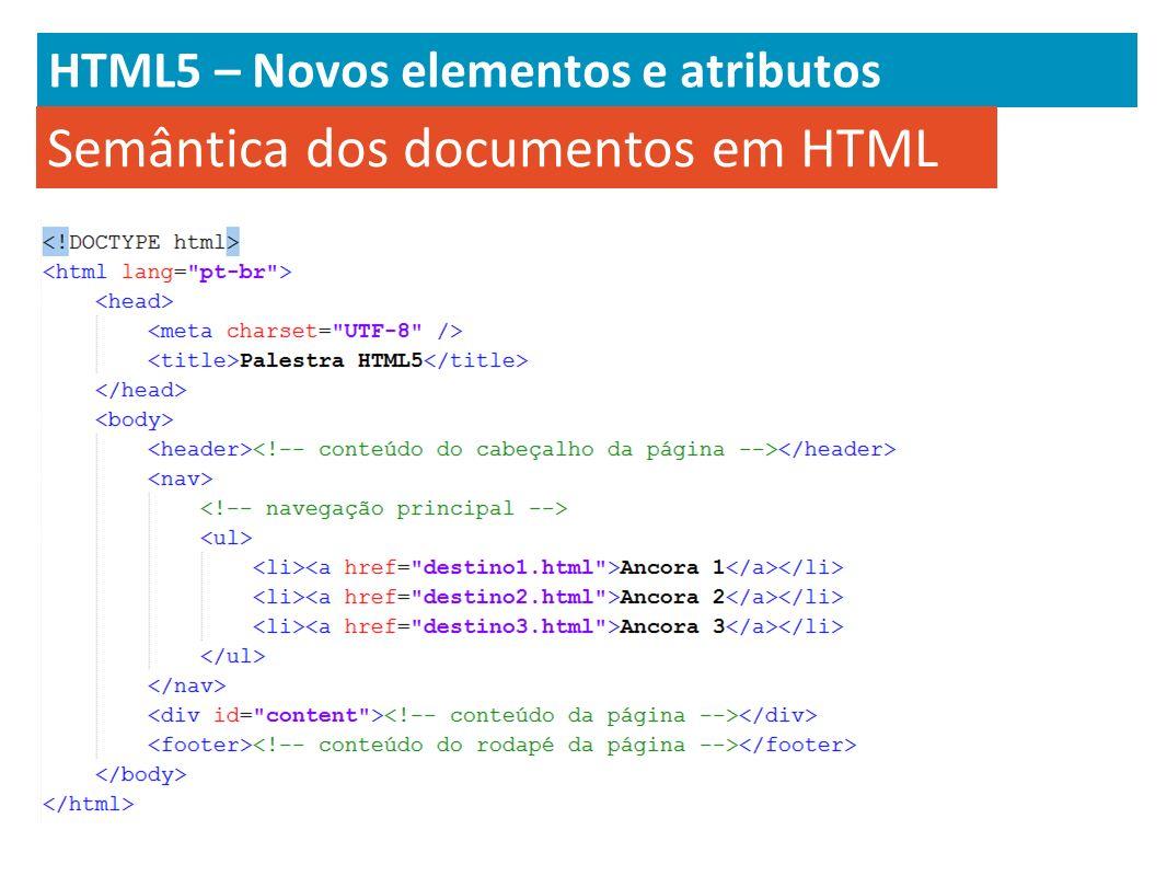 HTML5 – Novos elementos e atributos Semântica dos documentos em HTML