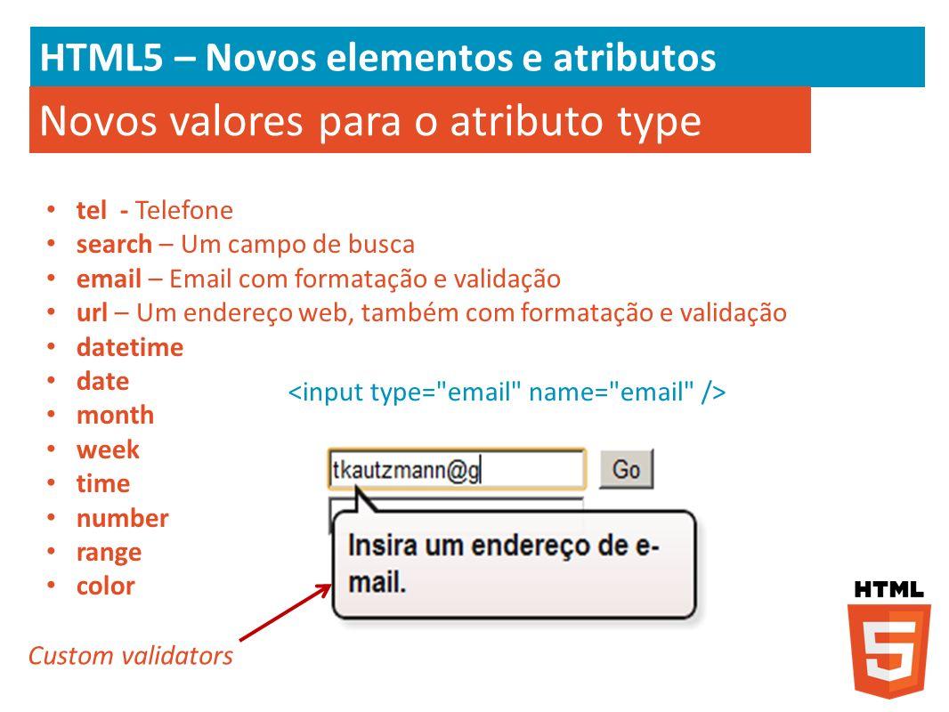 HTML5 – Novos elementos e atributos Novos valores para o atributo type tel - Telefone search – Um campo de busca email – Email com formatação e valida