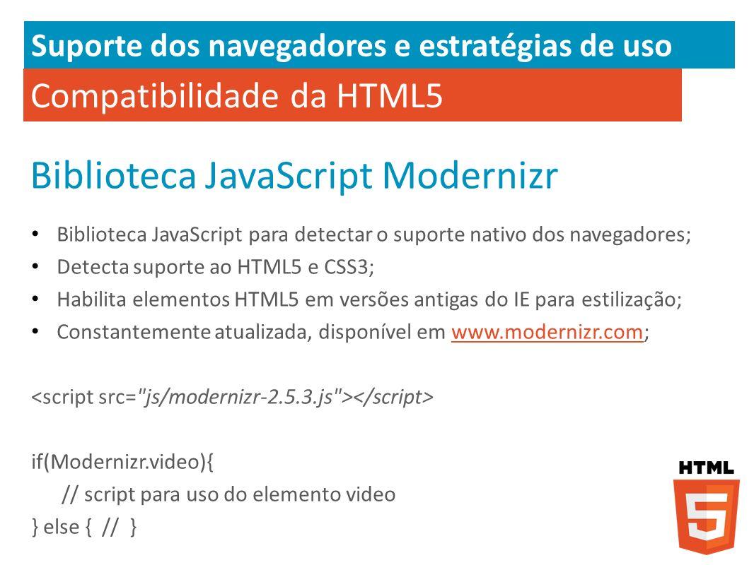 Compatibilidade da HTML5 Biblioteca JavaScript Modernizr Biblioteca JavaScript para detectar o suporte nativo dos navegadores; Detecta suporte ao HTML