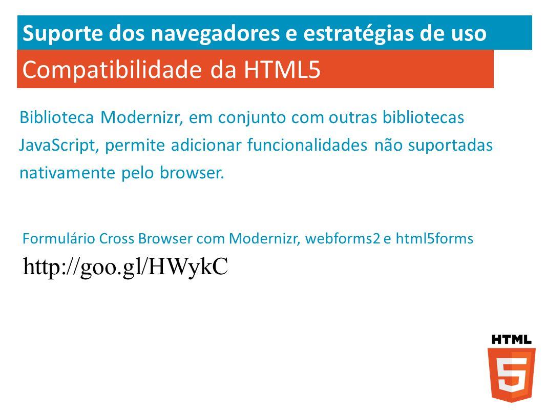 Compatibilidade da HTML5 Biblioteca Modernizr, em conjunto com outras bibliotecas JavaScript, permite adicionar funcionalidades não suportadas nativam