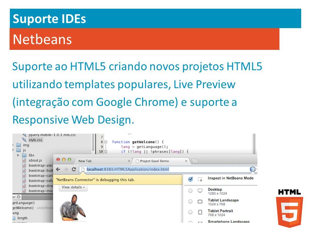 Netbeans Suporte ao HTML5 criando novos projetos HTML5 utilizando templates populares, Live Preview (integração com Google Chrome) e suporte a Respons