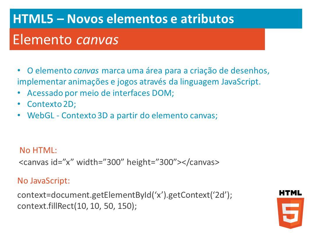 HTML5 – Novos elementos e atributos Elemento canvas O elemento canvas marca uma área para a criação de desenhos, implementar animações e jogos através