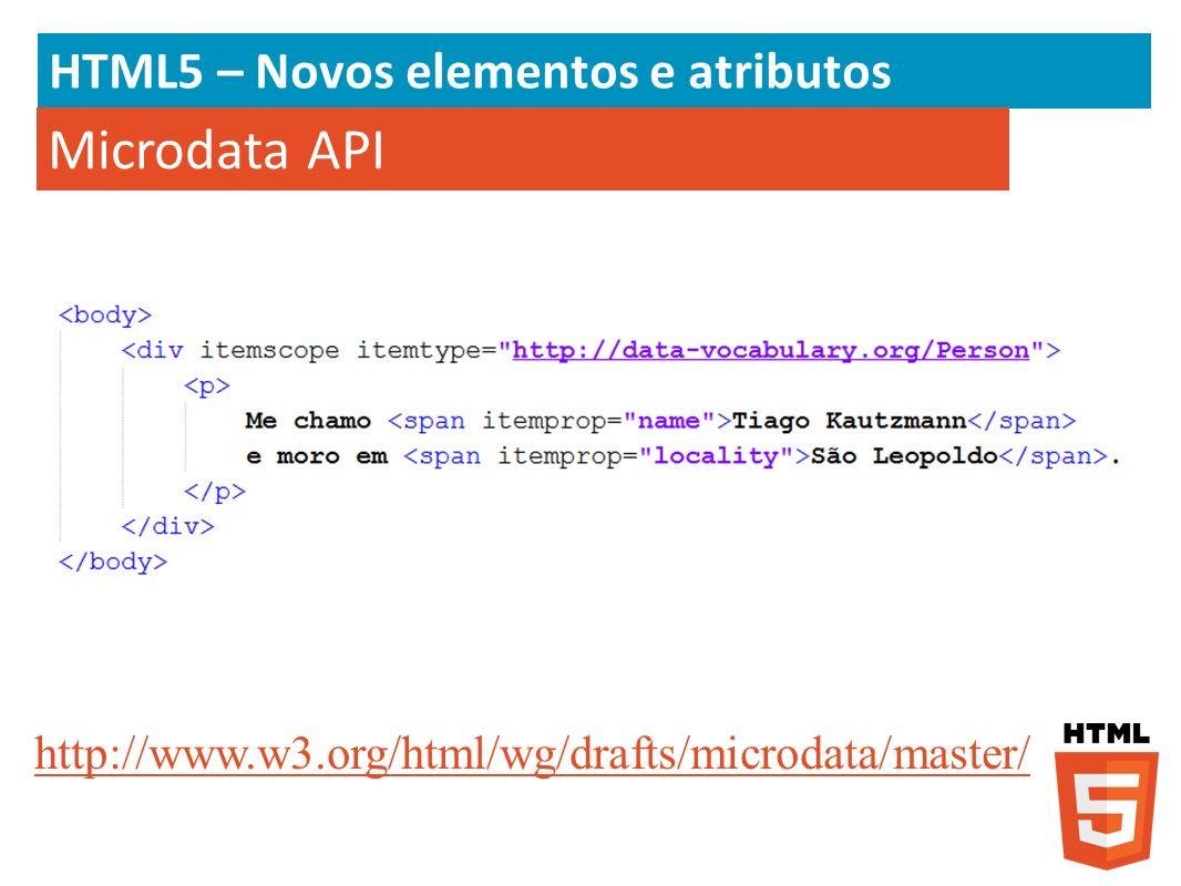 HTML5 – Novos elementos e atributos Microdata API http://www.w3.org/html/wg/drafts/microdata/master/