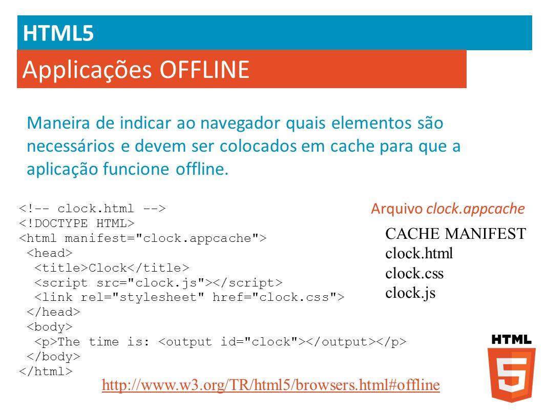 HTML5 Applicações OFFLINE Maneira de indicar ao navegador quais elementos são necessários e devem ser colocados em cache para que a aplicação funcione