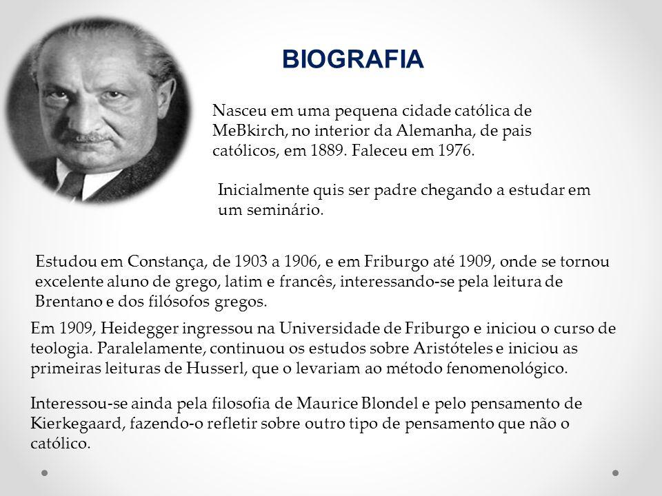 BIOGRAFIA Nasceu em uma pequena cidade católica de MeBkirch, no interior da Alemanha, de pais católicos, em 1889. Faleceu em 1976. Inicialmente quis s
