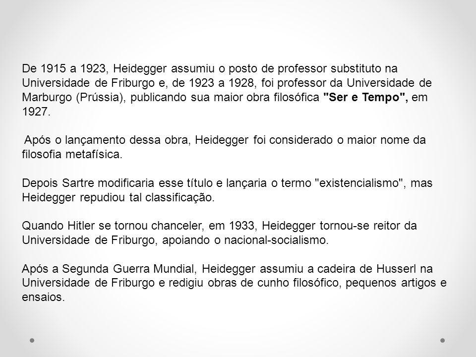 De 1915 a 1923, Heidegger assumiu o posto de professor substituto na Universidade de Friburgo e, de 1923 a 1928, foi professor da Universidade de Marb