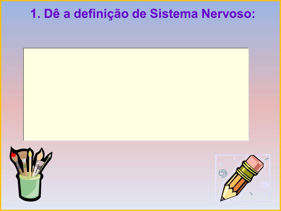 1. Dê a definição de Sistema Nervoso: