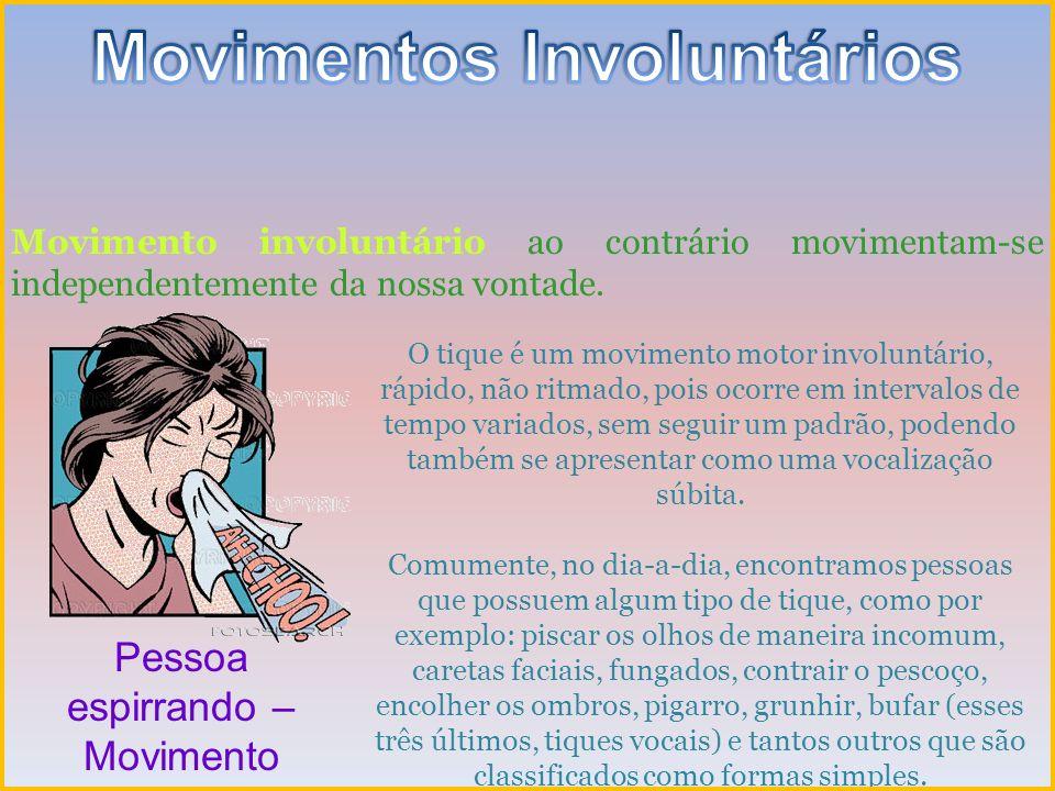 Movimento involuntário ao contrário movimentam-se independentemente da nossa vontade. Pessoa espirrando – Movimento Involuntário O tique é um moviment