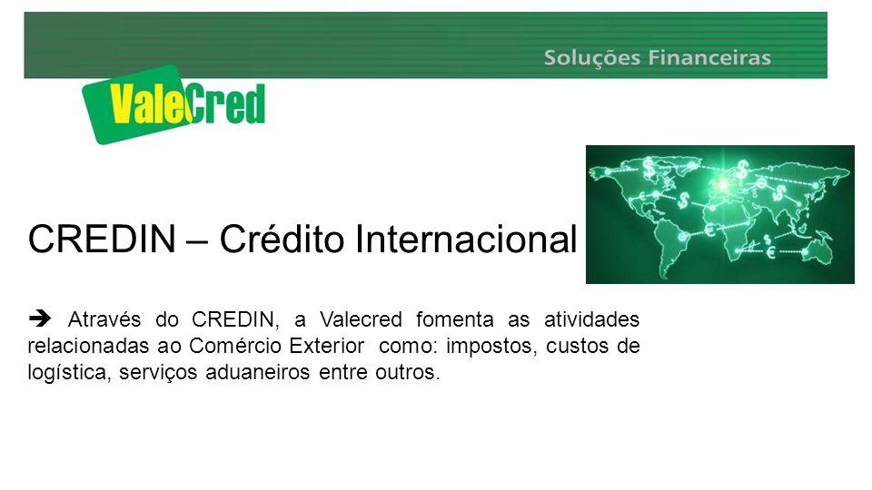 CREDIN – Crédito Internacional Através do CREDIN, a Valecred fomenta as atividades relacionadas ao Comércio Exterior como: impostos, custos de logística, serviços aduaneiros entre outros.