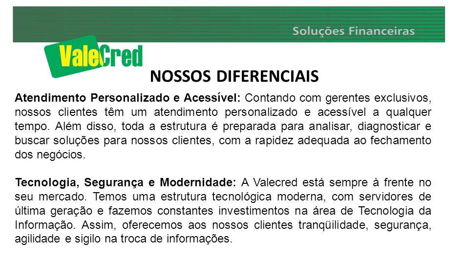 NOSSOS DIFERENCIAIS Atendimento Personalizado e Acessível: Contando com gerentes exclusivos, nossos clientes têm um atendimento personalizado e acessí