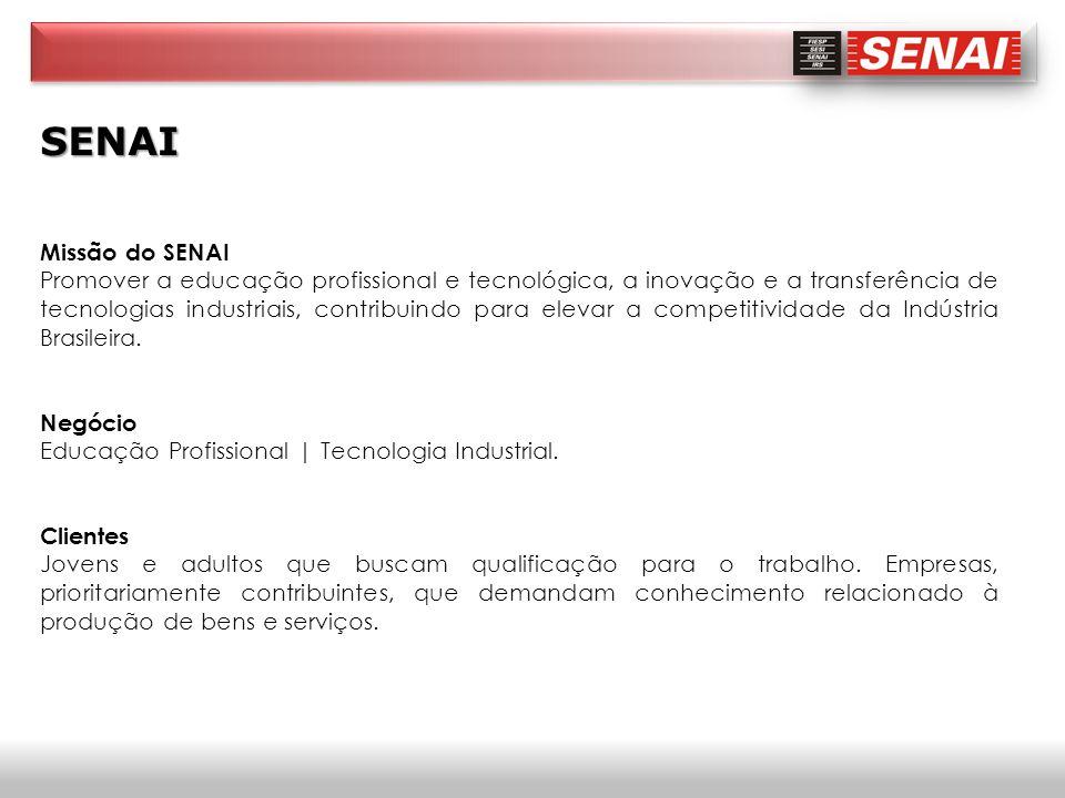 SENAI Missão do SENAI Promover a educação profissional e tecnológica, a inovação e a transferência de tecnologias industriais, contribuindo para eleva