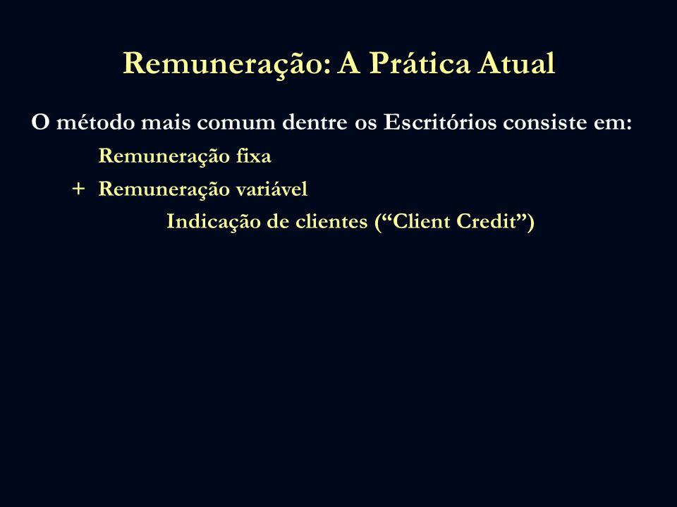 Remuneração: A Prática Atual O método mais comum dentre os Escritórios consiste em: Remuneração fixa +Remuneração variável Indicação de clientes (Clie