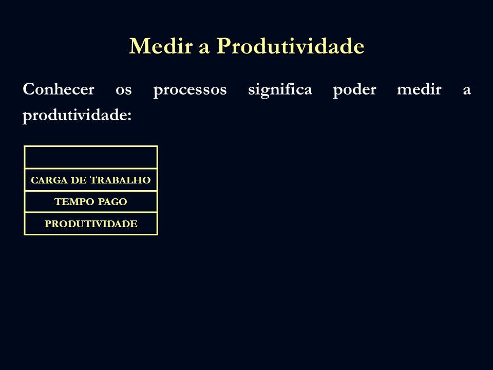 Medir a Produtividade Conhecer os processos significa poder medir a produtividade: CARGA DE TRABALHO TEMPO PAGO PRODUTIVIDADE
