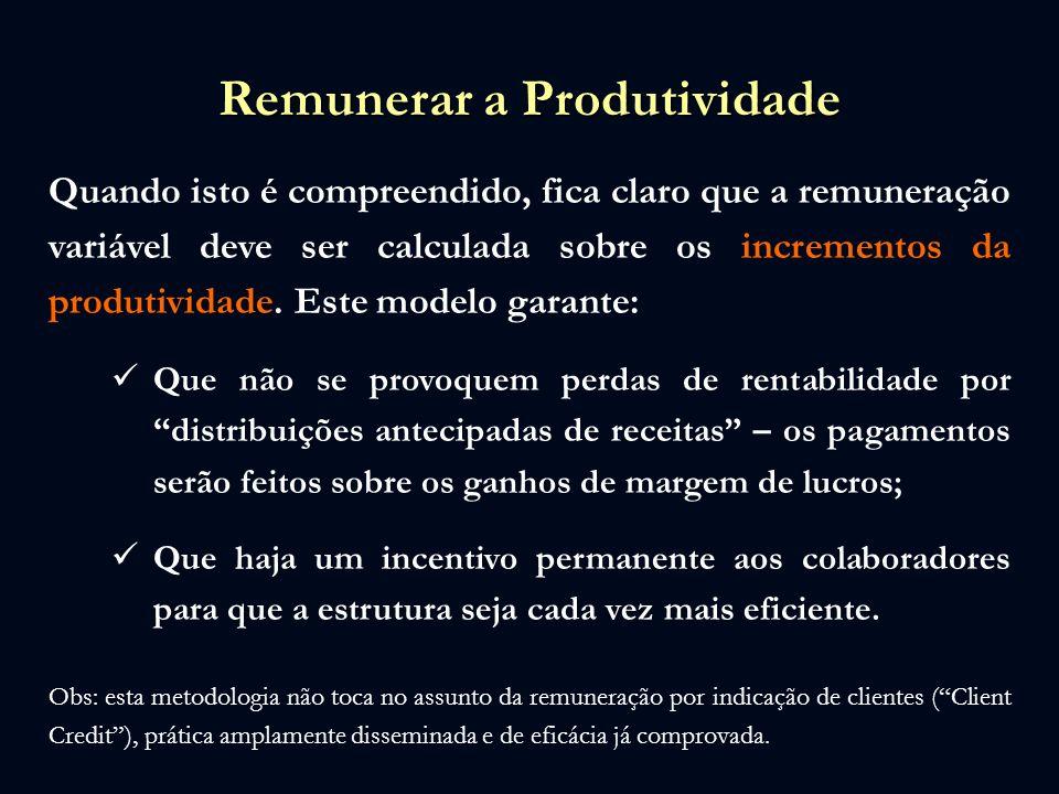 Remunerar a Produtividade Quando isto é compreendido, fica claro que a remuneração variável deve ser calculada sobre os incrementos da produtividade.