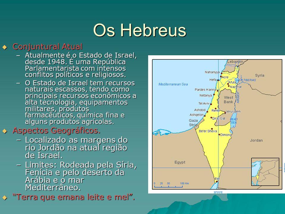 Os Hebreus Conjuntural Atual Conjuntural Atual –Atualmente é o Estado de Israel, desde 1948. É uma República Parlamentarista com intensos conflitos po