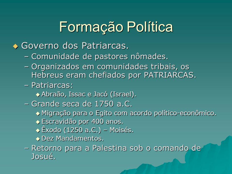 Formação Política Governo dos Patriarcas. Governo dos Patriarcas. –Comunidade de pastores nômades. –Organizados em comunidades tribais, os Hebreus era