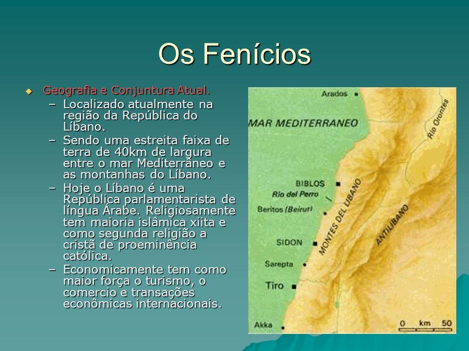 Os Fenícios Geografia e Conjuntura Atual. Geografia e Conjuntura Atual. –Localizado atualmente na região da República do Líbano. –Sendo uma estreita f