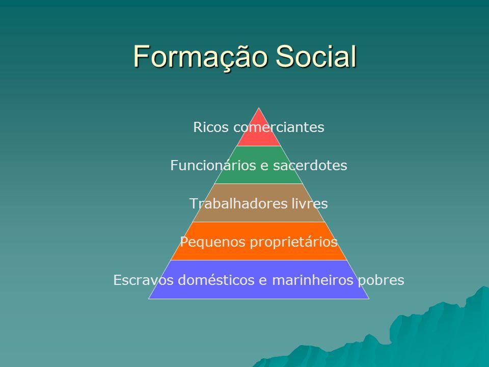 Formação Social Ricos comerciantes Funcionários e sacerdotes Trabalhadores livres Pequenos proprietários Escravos domésticos e marinheiros pobres