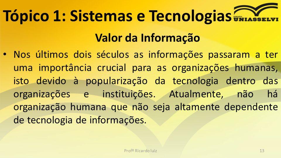 Tópico 1: Sistemas e Tecnologias Valor da Informação Nos últimos dois séculos as informações passaram a ter uma importância crucial para as organizaçõ