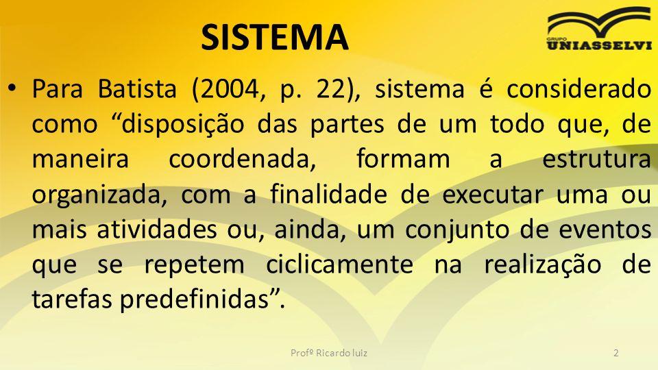 SISTEMA Para Batista (2004, p. 22), sistema é considerado como disposição das partes de um todo que, de maneira coordenada, formam a estrutura organiz