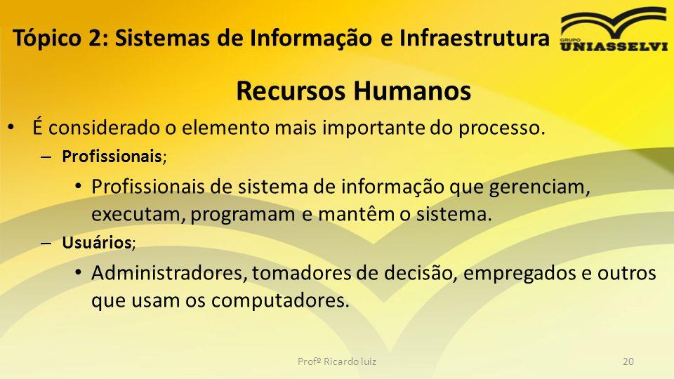 Tópico 2: Sistemas de Informação e Infraestrutura Recursos Humanos É considerado o elemento mais importante do processo. – Profissionais; Profissionai