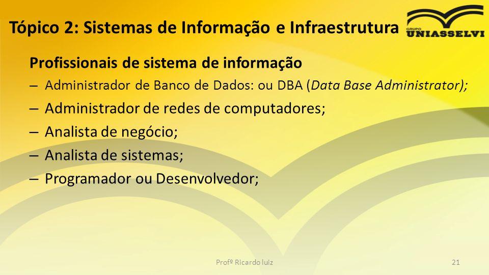 Tópico 2: Sistemas de Informação e Infraestrutura Profissionais de sistema de informação – Administrador de Banco de Dados: ou DBA (Data Base Administ