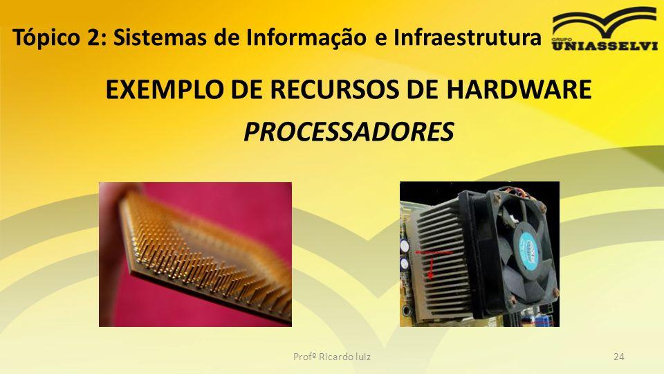 Tópico 2: Sistemas de Informação e Infraestrutura EXEMPLO DE RECURSOS DE HARDWARE PROCESSADORES Profº Ricardo luiz24