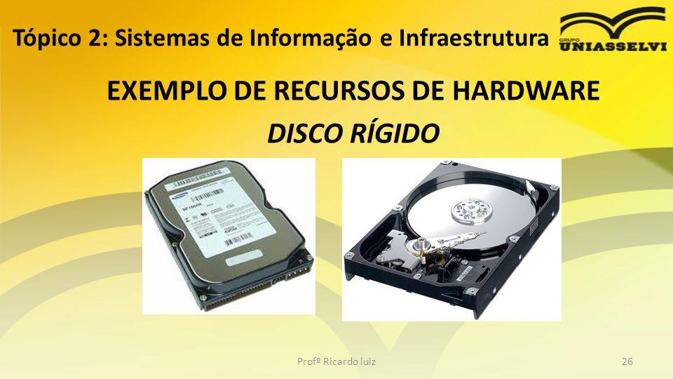 Tópico 2: Sistemas de Informação e Infraestrutura EXEMPLO DE RECURSOS DE HARDWARE DISCO RÍGIDO Profº Ricardo luiz26
