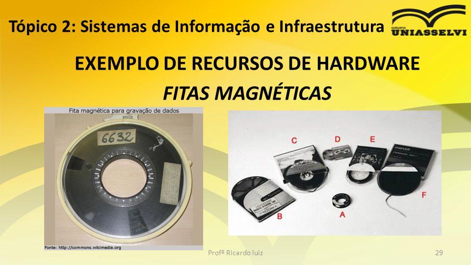 Tópico 2: Sistemas de Informação e Infraestrutura EXEMPLO DE RECURSOS DE HARDWARE FITAS MAGNÉTICAS Profº Ricardo luiz29