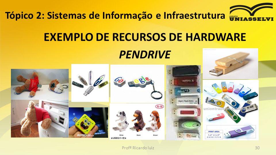 Tópico 2: Sistemas de Informação e Infraestrutura EXEMPLO DE RECURSOS DE HARDWARE PENDRIVE Profº Ricardo luiz30
