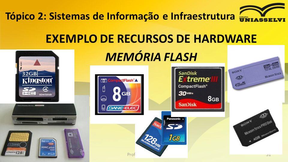 Tópico 2: Sistemas de Informação e Infraestrutura EXEMPLO DE RECURSOS DE HARDWARE MEMÓRIA FLASH Profº Ricardo luiz31