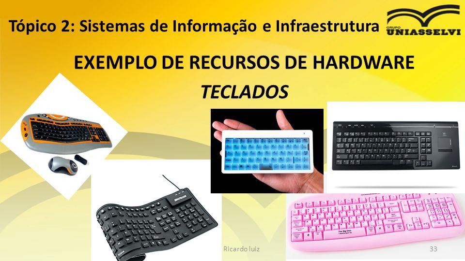 EXEMPLO DE RECURSOS DE HARDWARE TECLADOS Tópico 2: Sistemas de Informação e Infraestrutura Profº Ricardo luiz33