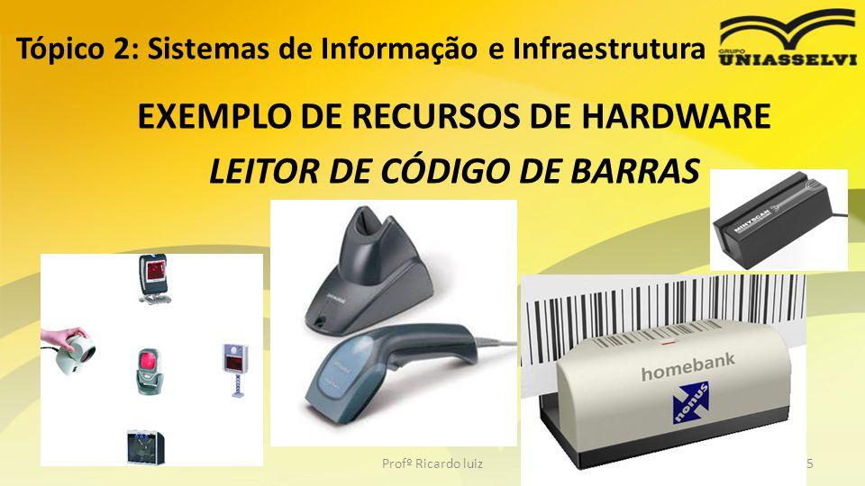 EXEMPLO DE RECURSOS DE HARDWARE LEITOR DE CÓDIGO DE BARRAS Tópico 2: Sistemas de Informação e Infraestrutura Profº Ricardo luiz35