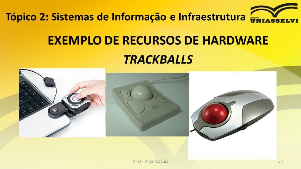 EXEMPLO DE RECURSOS DE HARDWARE TRACKBALLS Tópico 2: Sistemas de Informação e Infraestrutura Profº Ricardo luiz37