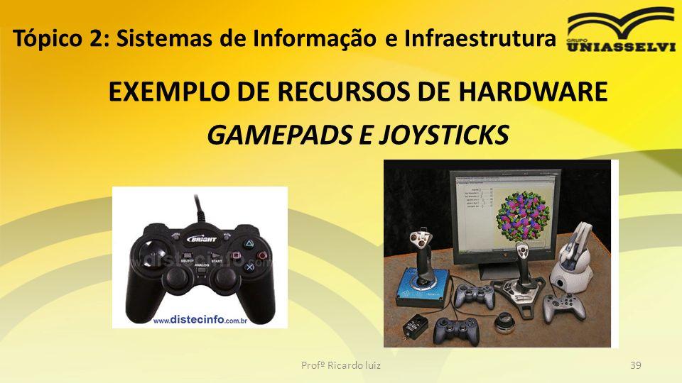 EXEMPLO DE RECURSOS DE HARDWARE GAMEPADS E JOYSTICKS Tópico 2: Sistemas de Informação e Infraestrutura Profº Ricardo luiz39